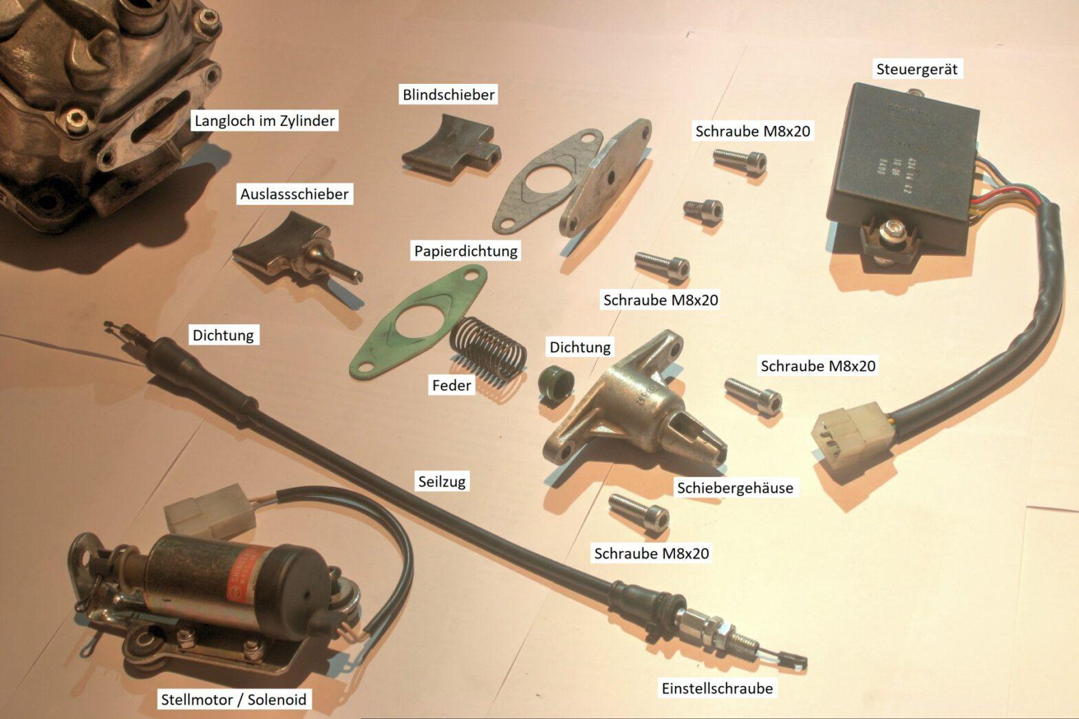 Auslasssteuerung RS 125 Bauteile